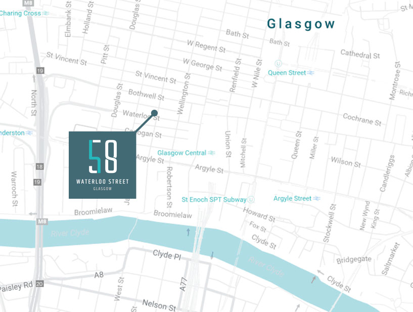Map showing 58 Waterloo street location